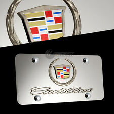 Cadillac Wreath Logo Front License Plate Frame 3D Mirror Stainless Steel w/ Caps
