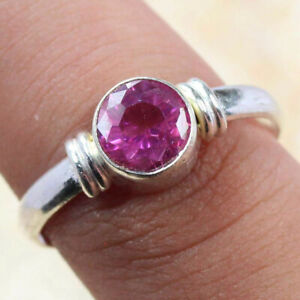 Pink Topaz 925 Silver Plated Handmade Gemstone Ring of US Size 7.5 Ethnic Gift