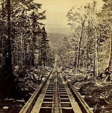 photo MOUNT WASHINGTON RAILWAY stereoview RR NH railroad track down WHITE Mtns