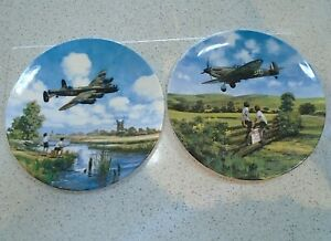 2 Royal Doulton Heroes of Sky Plates Spitfire Coming Home Lancaster Low Overhead