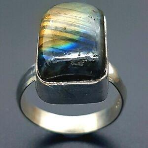Sterling Silver & Blue Labradorite Cabochon Statement Ring - UK SIZE R - 6.07g -