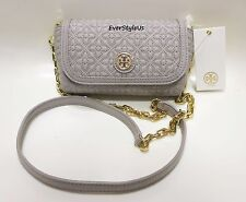 TORY BURCH Bryant Mercury Gray Quilted Small Cross Body Purse Bag Clutch 34029