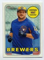 2018 Topps Heritage #49 STEVEN VOGT Milwaukee Brewers - Baseball Card 1969 STYLE