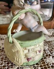 """Vintage Antique Ardalt Japan Cherub Figurine on Edge of a Bisque Basket - 5"""""""