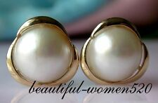 z1971 20mm white south sea mabe pearl earring 14k