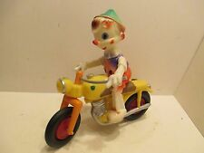 "DISNEY PINOCCHIO RIDING MOTORCYCLE WITH SIDECAR EXCELLENT CONDITION 13"" LONG"