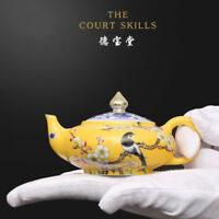 China old antique Porcelain qing kangxi famille rose flower and bird Teapot