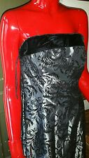 Dave and Johnny maxi gown black velvet bust line  silver gunmetal lined size 12