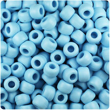500 Baby Light Blue Matte 9x6mm Barrel Pony Beads Made in the USA