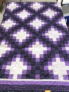 Triple Irish Chain Handmade Purple Queen Quilt 83 X 80