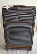 "🌸JESSICA SIMPSON Black & White Regency Stripe  29"" Spinner Luggage NWT"