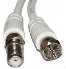 15m Satellite Extension Cable Lead F Type Screw Sky Digital Virgin Plug WHITE