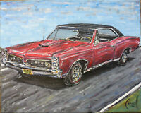 1967 PONTIAC GTO red 8x10 oil painting muscle car art original signed CROWELL $