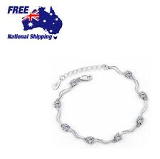 Women 925 Sterling Silver Lab Diamond Adjustable Bracelet Chain