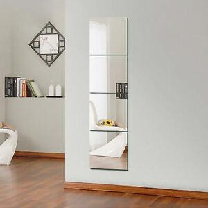 16pcs Mirror Tiles Self Adhesive Back Square Bathroom Wall Stickers Mosaic Decor