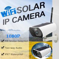 Solar Powered 1080P HD Wireless CCTV WIFI  Two-Way Audio Camera Outdoor IP Cam