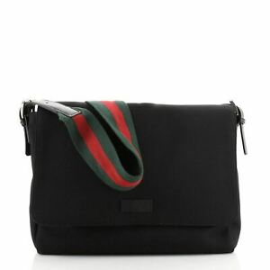 Gucci Web Strap Messenger Bag Techno Canvas Large