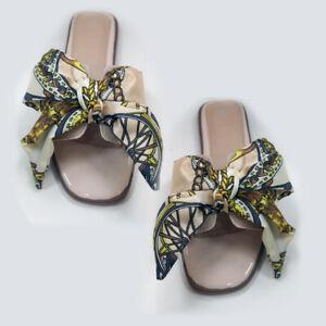 Summer Womens Ladies Flat Slip On Ribbon Bow Beach Sliders Fashion Sandals Shoes