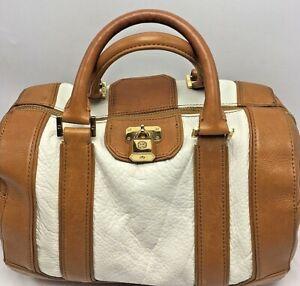 Tory Burch Tan/White Leather Satchel Purse With Tory Lock Charm Handbag