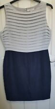 L K Bennett tulipa contrast Navy/grey Sheath Work Dress Size 14 fully lined
