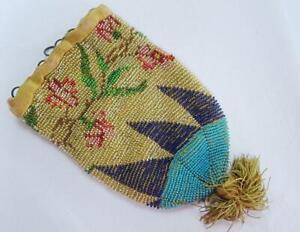 Antique Beadwork Purse Reticule Bag Victorian Micro Glass Drawstring c1860