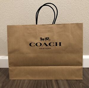 """NEW COACH Medium Paper Shopping Gift Bag - Size 12""""x16x6.25"""" - BROWN color"""