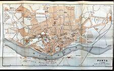 Antique LARGE Color MAP - CITY PLAN of  PORTO, PORTUGAL - Karl Baedeker 1913