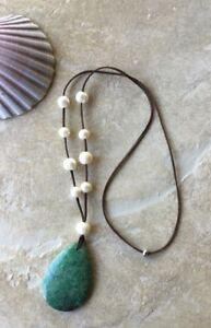 Fossil Green Coral Pendant with Beautiful Akoya Pearls