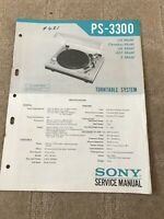 Sony PS -3300  service manual for turntable system