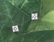 Sassi AE3097 Sterling Silver 6mm Princess Cut Cubic Zirconia CZ Stud Earrings