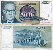 FRJ Ivo Andrić Yugoslavia 1992 5000 Dinar Dinara Yugoslav Wars Banknote