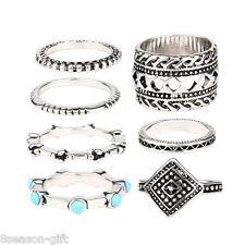 2017 7Pcs/Set Brand New Women Fashion Girl Silver Plated Resin Retro Ring Set
