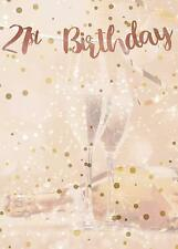 LARGE 21st Cream & Rose Gold Happy Birthday Metallic Card Backdrop Banner  1 m