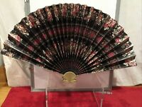 Large Vintage Floral Asian Paper Hand Fan Home Decor Brass Handle 70's Taiwan