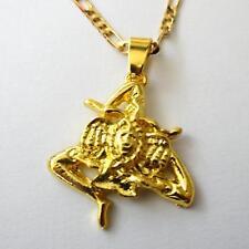 MEN'S WOMEN'S Chain Necklace Gold Tone with Trinacria Pendant - 363 AA