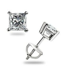 .40 Ct Princess cut Stud Earrings Solitaire Screwback pierced 14k White Gold 3mm
