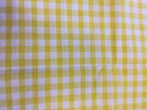 Half Metre Country Lemon Yellow White Gingham 100% Crafting Cotton Mask Fabric