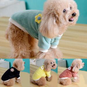 Pet Puppy Dog warm Flower Fleece Vest T-shirt Clothes Winter Apparel Pet Cute