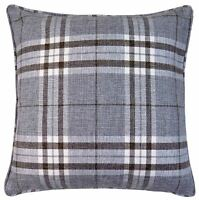 "FILLED TARTAN GREY BEIGE CHECK PLAID HIGHLAND WOVEN THICK CUSHION 17"" - 43CM"