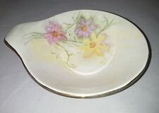 Knowles USA Hand Painted Flowers Lugged Bowl  Vintage With Handle Gold Trim Help