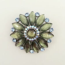 New Aqua Blue Olive Double Flower Crystals Pendant Charm Brooch Pin BR1236 Gift