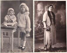 BARI: 2 fotocartoline signora anni '20 e 2 bambini  - foto Antonelli