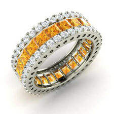 5.56 Ct Genuine Real Diamond Citrine Band 14K Solid White Gold Ring Size L M N O