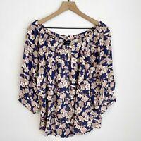Sanctuary Enchanted Floral Peasant Blouse Top Plus Size 1X Blue Rayon Womens New