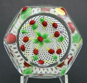 LG Marvelous SAINT LOUIS Multifaceted CHERRIES & LATTICINO Art Glass PAPERWEIGHT