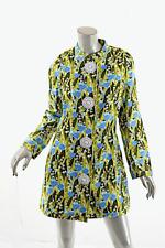 ANDREW GN Multi Linen Cotton Floral Coat Dress Ceramic Flower Buttons Med