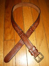 Vintage Brown 3 Piece Harness Cowhide Leather Belt Solid Brass Sz Xs/S