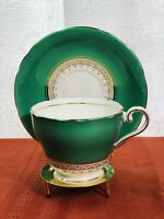 Aynsley green and gold Tea Cup & Saucer, fine bone china, 1775 made in England.