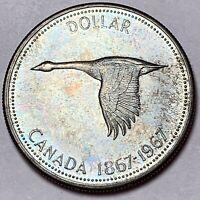 1967 CANADA SILVER DOLLAR GOOSE BU GEM STRIKING COLOR MONSTER TONED UNC (DR)