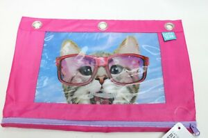 Pen + Gear Cat w/ Glasses Binder Zipper Pouch Pencil Case Pink